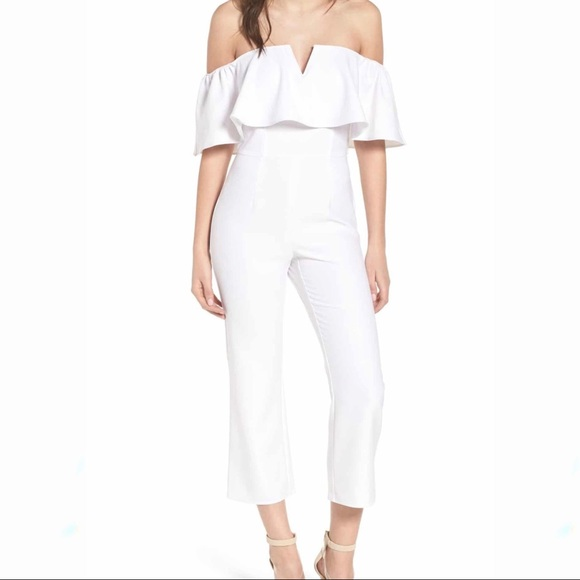 Nordstrom Leith Off The Shoulder Jumpsuit White
